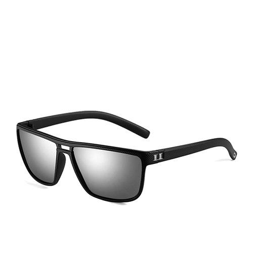 polarizadas C3 Marrón Marrón Mirror Sol Sunglasses Gafas de Cuadrado de TL Gafas Sol Plástico para Hombre Hombres Gafas de C1 de Guía Moda MatteBlack xqwfIUR