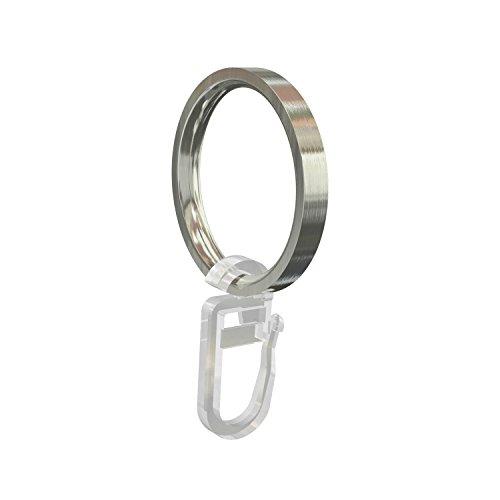 Flairdeco 11052006-2039 Ringe mit Faltenhaken für 16 und 20 mm Durchmesser Gardinenstangen, Packungsinhalt 20 Stück, edelstahl-optik aus metall