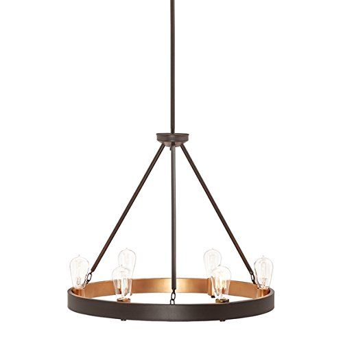 - Kichler Covington 24.49-in 6-Light Olde Bronze Rustic Candle Chandelier