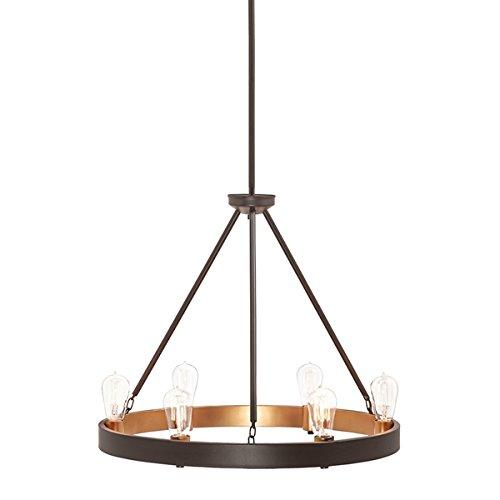 (Kichler Covington 24.49-in 6-Light Olde Bronze Rustic Candle Chandelier)