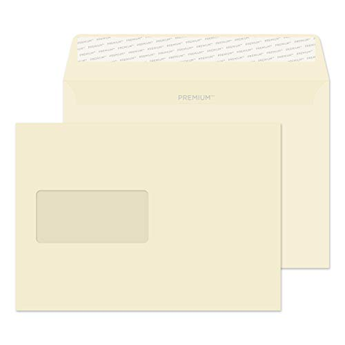 (Blake Premium Business C5 162 x 229 mm 120 GSM Peel & Seal Window Wallet Envelopes (61708) Cream Wove - Pack of 500)