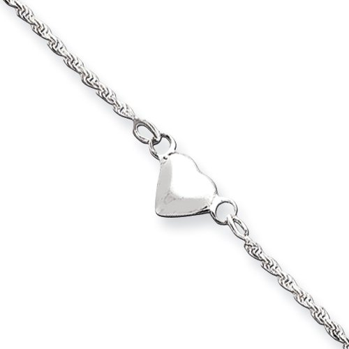 Sterling Silver 9mm Puffed Heart Anklet