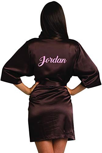 (Girleo Women's Personalized Name, Custom Titles or Phrases-Bride Bridesmaid Mother of The Bride Maid of Honor Mother of The Groom Chocolate Satin Robe 1X/2X 22-26)