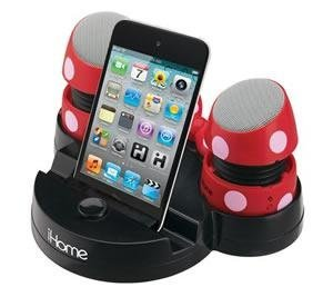 Minnie Mouse Rechargeable Stereo Speakers with Base for iPod