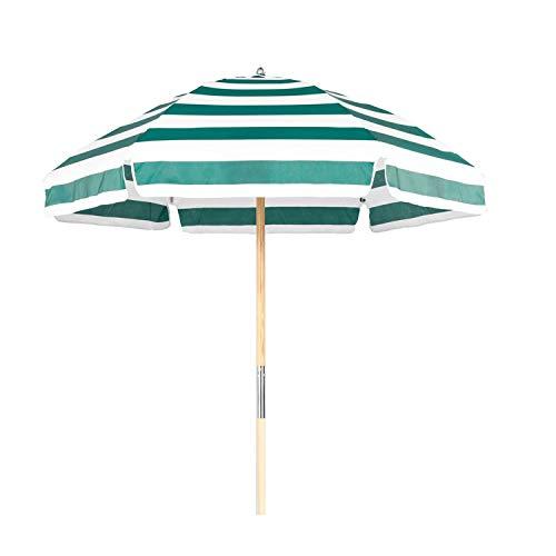 6.5' Shade Star Beach Umbrella Color Forest Green/White Stripe ()