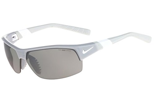 Nike Golf Show X2 Sunglasses, Wolf Grey/White Frame, Grey with Silver Flash/Outdoor Tint - X2 Show Sunglasses Nike