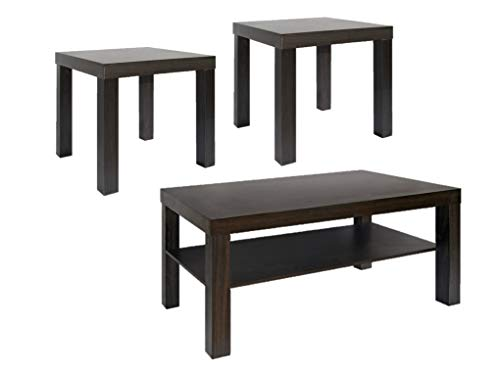 CAP LIVING Modern Rectangular Espresso Cocktail Coffee Table with Storage Shelf, 3-Piece Set, Coffee Table & 2 Espresso Ends Tables