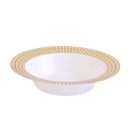 Disposable Plastic Plates | Premium Quality White Gold Dinnerware With Gold Checkerboard Border | Excellent for Weddings, Baby & Bridal Showers, Engagement Parties & More | 12 Ounce Bowls | 40 Count