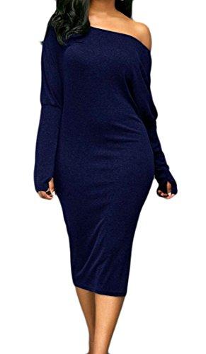 Midi Un Vestito Domple Sottile Colore Vestibilità Donne Aderente Solido 1 Da Partito Delle nPa6pn