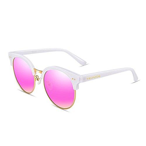 nouvelles Femmes A grosse boîte ronde soleil lunettes de soleil couleur de soleil lunettes lunettes de réfléchissantes lunettes femmes rétro de drqfrS