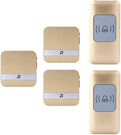 ワイヤレス防水ドアベル、ユニバーサルスマートドアチャイム300m動作範囲ドアチャイム、2プッシュボタン+3 レシーバー、52着信音、4ボリュームレベル,金
