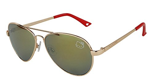 Womens Contemporary Hello Kitty Classic Silver Aviator Sunglasses (Red - Hello With Glasses Kitty