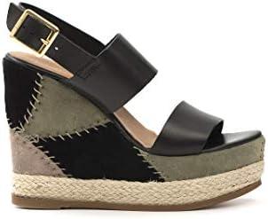 Sandale Zeppa Haute en cuir - S 45CR 380 NP noir, vert - taille
