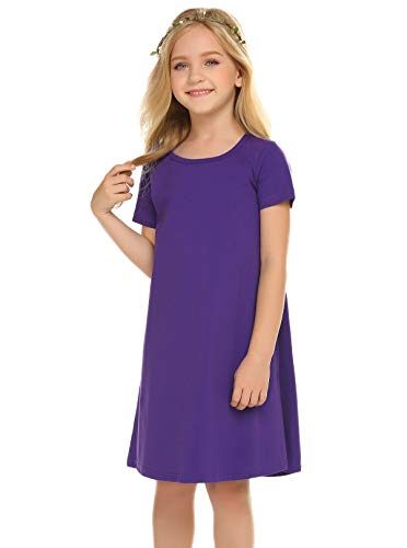 Balasha Girl's Summer Casual Dresses Short Sleeve Solid Cover up T-Shirt Dress Purple
