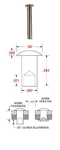 .125 Dia. X .781 Length Plain Finish TFC0825 250 C1-25-ST Oval Head Stainless Steel Tubular Rivet