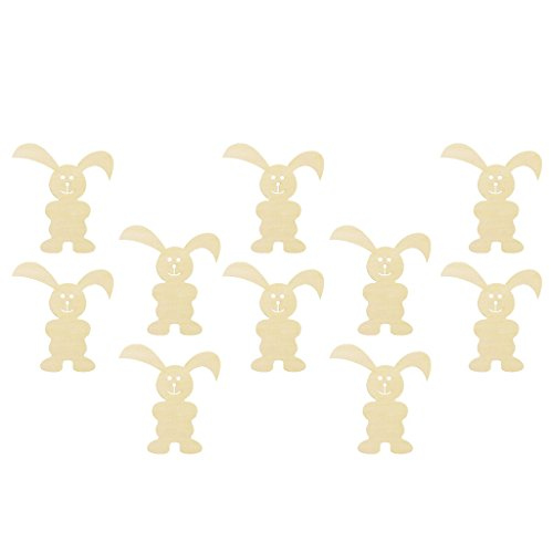 Homyl 10 Pieces Happy Easter Wooden Bunny Gift Tags Ornaments Rabbit Cutouts DIY Craft