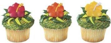 Luau Cake Decorations (Beautiful Hawaiian Hibiscus Flower Cupcake Rings (24-Pack))