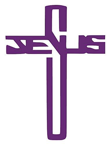 Decal Transfer - Jesus Cross Christian [Pick Any Color] Vinyl Transfer Sticker Decal for Laptop/Car/Truck/Window/Bumper (3in x 2.2in (Laptop Size), Purple)