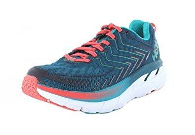 HOKA ONE ONE Womens Clifton 4 Blue Coral/Ceramic Running Shoe - 8.5
