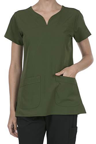 8045 Women's Uniform Scrubs Medical 2 Pocket Scrub Top Olive S