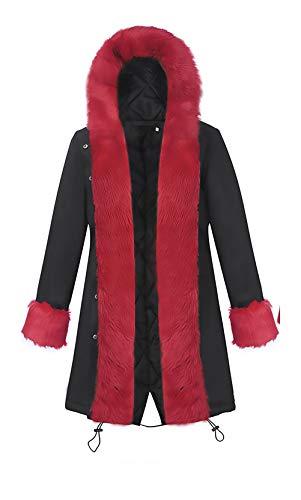 Inverno Calda Incappucciato Donna Outdoor Eleganti Chic Addensare Black Giacche Outwear Vita Giaccone Moda Casual Parka Lunga 1 Manica Invernale Ragazza Alta Cappotto qanwI7x8Y5