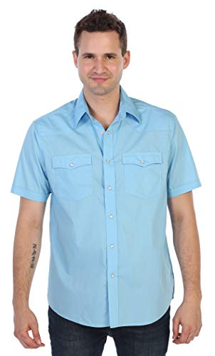 Gioberti Mens Casual Western Solid Short Sleeve Shirt with Pearl Snaps, Light Blue, - Snap Shirt Western Slim Pearl