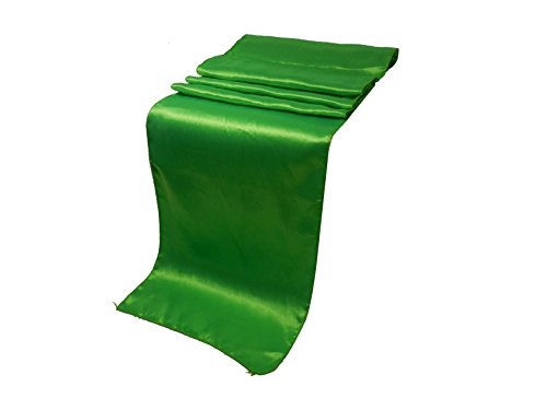 Elina Home 12-Inch-by-108-Inch Satin Table Runner, Grass Green (Pack of 10)