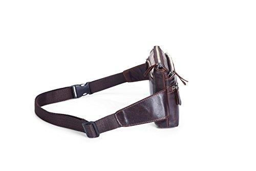 Hombres Cintura Deportivo Brown Los Bandolera Pecho Del Capa Primera De Bolsos Hombro Cuero Y Retro Teléfono Ghc Bolso X0xC0R