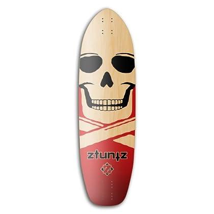 Image of Decks ztuntz skateboards Big Skull Downhill Screamer Longboard 8-Ply Hard Rock Maple Deck, 10 x 35-Inch/25.5-Inch/26.5-Inch WB, Red/Black/Natural