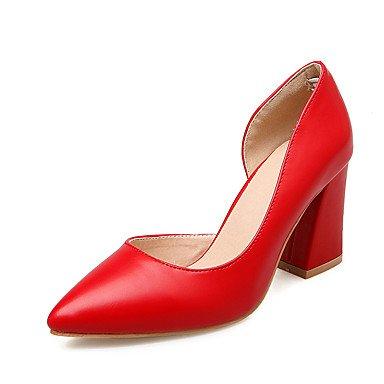 ligaosheng Mujer-Tacón Robusto-Zapatos del Club-Sandalias-Boda Oficina y Trabajo Vestido Informal Fiesta y Noche-Semicuero-Rojo Beige Plata red