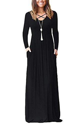 LILBETTER Women Long Sleeve Loose Plain Maxi Dresses Casual Long Dresses with Pockets (XS, 01 Black)