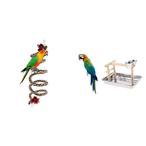 Agordo Parrot Stand Climbing Game Frame Perch Toy with Cotton Rope Bird Perches ()