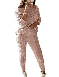 SELX Women 2-Piece Knitted Pullover Sweater High Waist Pants Jumpsuits Set