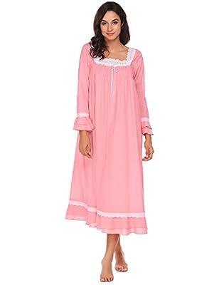 Ekouaer Women's Nightgowns Lingerie cute Nightwear Cotton Sleepwear Lace Chemise Babydoll Pajamas