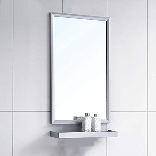 Bathroom Mirror with Shelf and Towel Bar Rectangle Stainless Steel Frame Wall Mirrors Vanity Makeup Mirror Wall Hanging Fixing Hardware for Bathroom Washroom