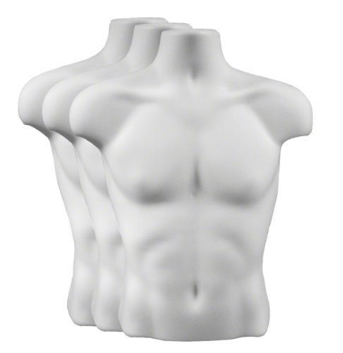 Torso Form - Male, Case of 3, White