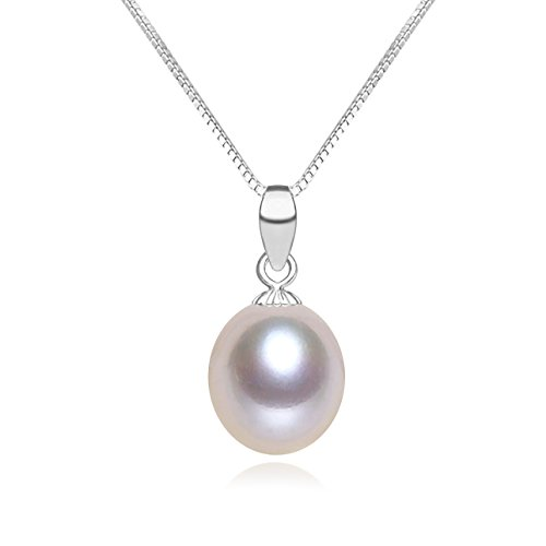Purple Pearl Pendant Necklace For Women (8.5-9mm, 18 Inch) ()