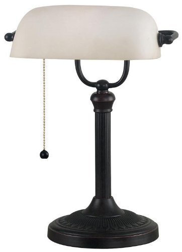 Home Decorators Collection Amherst Banker' s Lamp, 15″ Hx11 W, Oil RBBD Bronze
