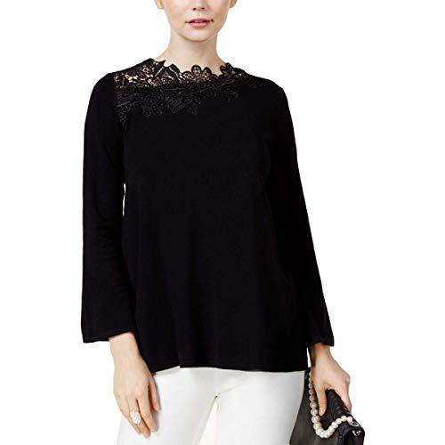 Alfani Sweater - Alfani Women's Asymmetrical Lace-Trim Sweater (Deep Black, X-Large)