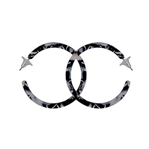 rrings Mottled Acrylic Earrings Resin Earrings Studs (Black 02) ()