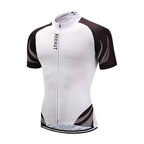 REEHUT Mens Breathable Cycling Jersey Biker Short Sleeve Shirt Quick Dry  Full Zip Men s Bicycle Jacket with Pockets - White 3fef1ceff
