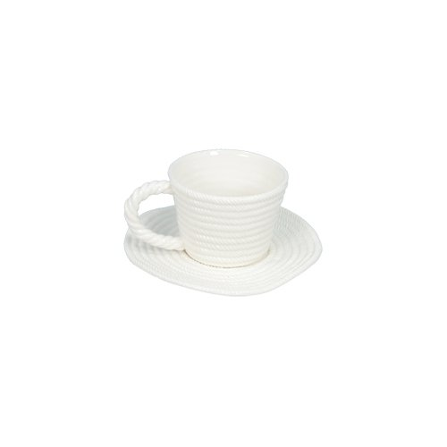 Fantastic Craft White Rope Coffee Cup with Plate Set of 2 TB230 WHITE 4-Inch