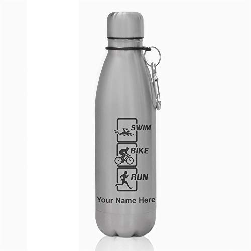 (Water Bottle, Swim Bike Run Vertical, Personalized Engraving Included)