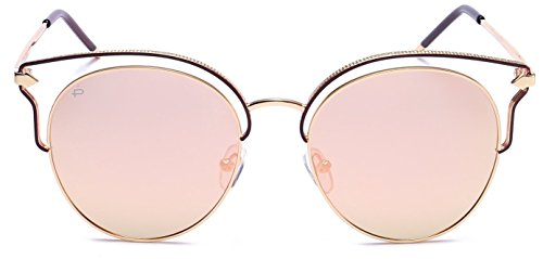 "PRIVÉ REVAUX ""The Heartbreaker"" Handcrafted Designer Cat-Eye Polarized Sunglasses For Women (Gold Guilloche)"