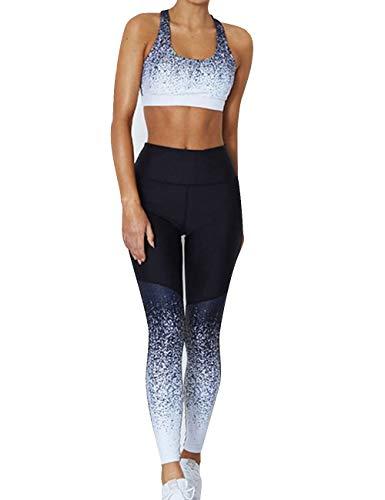 MACCHIASHINE Women's 2 PCS Pattern Print Sports Bra Pants Set Yoga Wear Set Racerback Bra and Leggings Tights(BA4,XL)