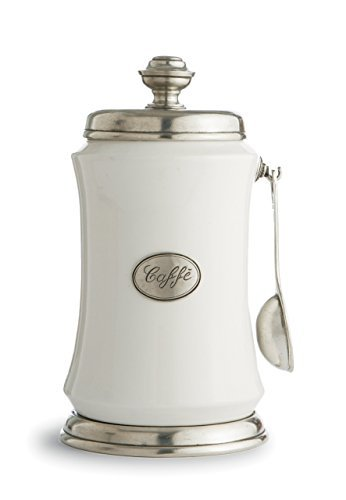 Arte Italica Tuscan Coffee Canister with Spoon, White by Arte (Arte Italica Canister)