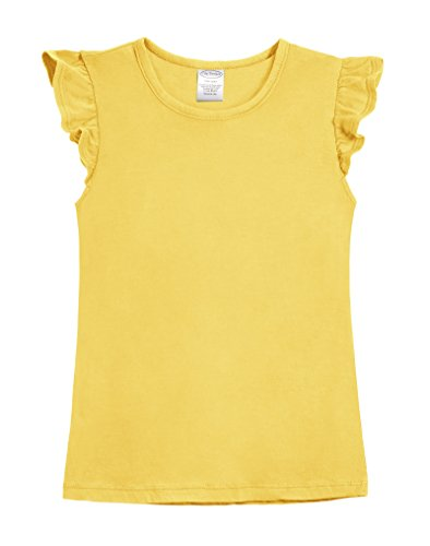 (City Threads Girls' All Cotton Short Flutter Sleeve Ruffle Top Blouse Shirt For Summer Play School Parties Stylish SPD Sensory Friendly, Yellow, 4T)