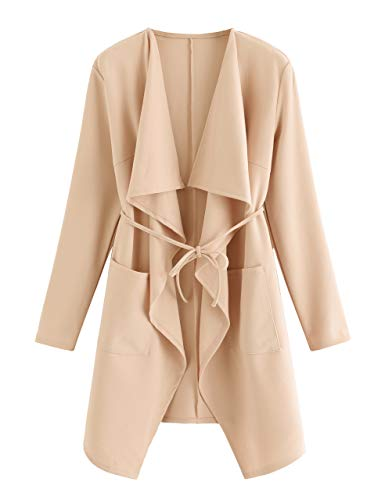 Romwe Women's Waterfall Collar Long Sleeve Wrap Trench Coat Duster Cardigan Jacket Peach L ()