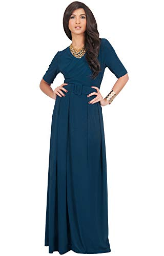 KOH KOH Womens Long Half Short Sleeve Belt Flowy Wedding Party Elegant Evening Work Formal Casual Modest Floor Length Vintage Gown Gowns Maxi Dress Dresses, Blue Teal M 8-10