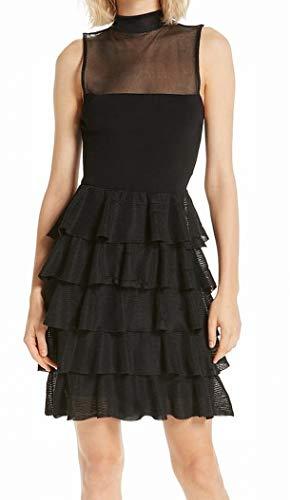 - alice + olivia Womens Small Mock Neck Mesh Shift Dress Black S
